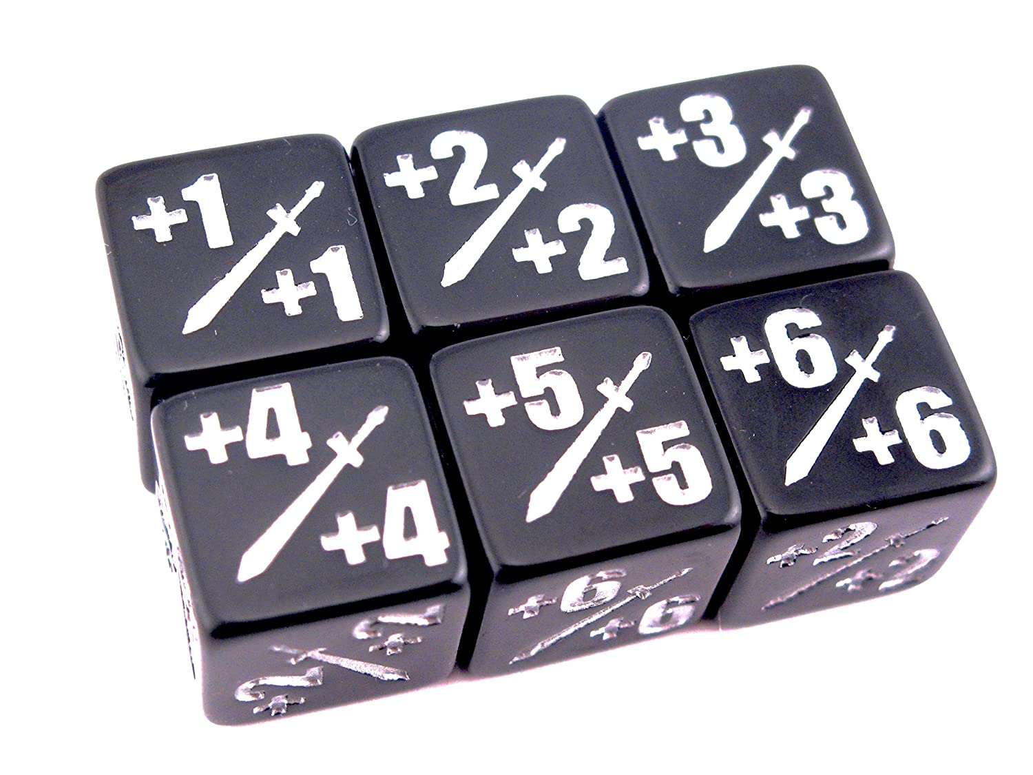 Pack of 6 Black with Silver Ink Hedral 6d6 Premium MTG 1//+1 Counter Dice D6 Polyhedral Magic The Gathering TCG CCG