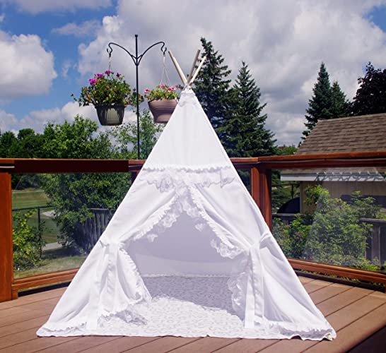 buy online d35f0 ef71c Amazon.com: The Teepee Store White Kids Teepee Tent with ...