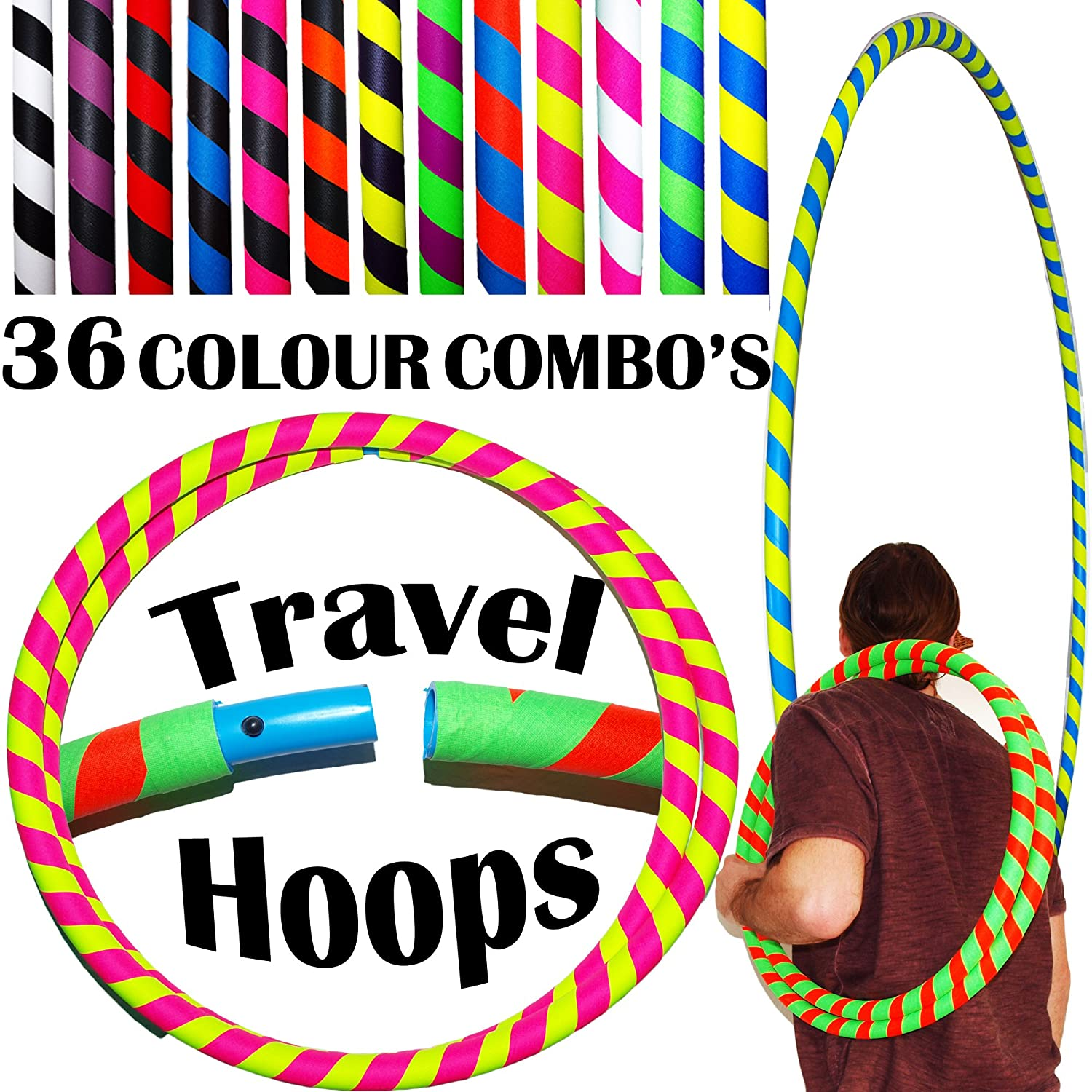 ULTRA-GRIP Pro Hula Hoops (100cm/39') UV Weighted TRAVEL Hula Hoop / Hula Hoops For Exercise, Dance & Fitness! (680g) NO Instructions Needed - Same Day Dispatch! Flames N Games