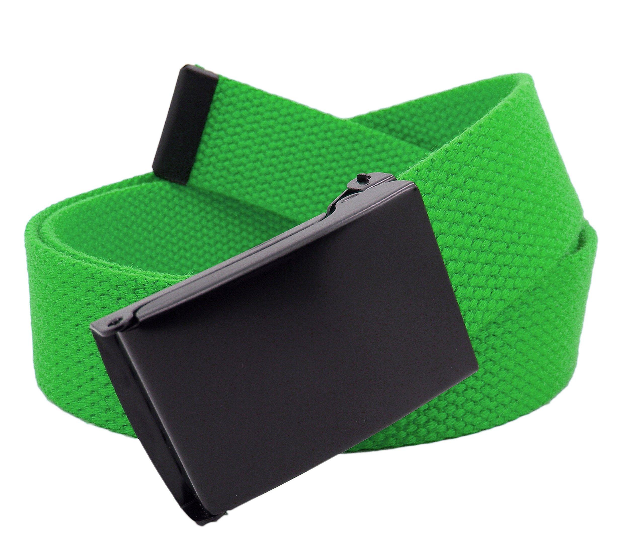 Boy's School Uniform Black Flip Top Military Belt Buckle with Canvas Web Belt Large Kelly Green