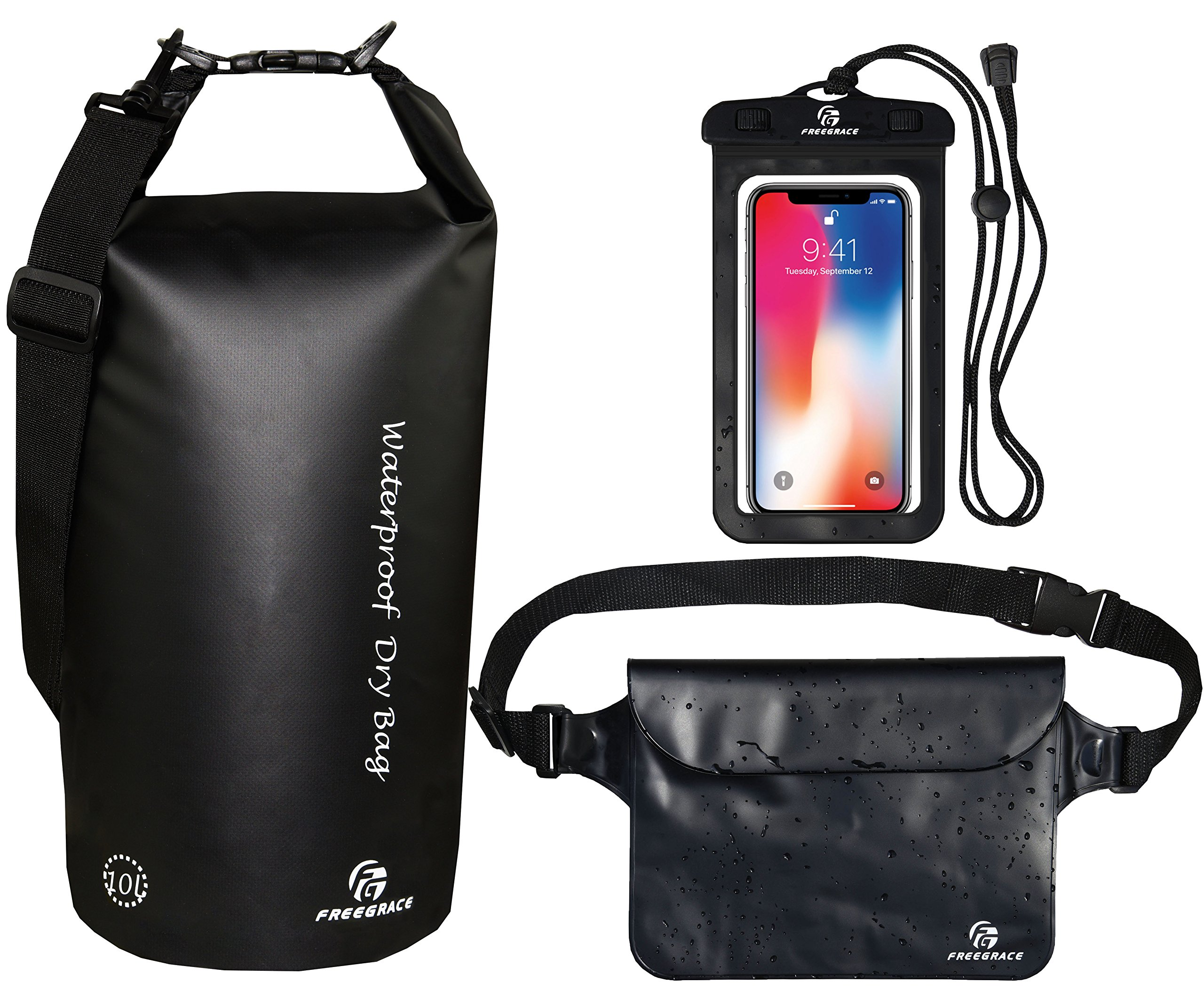 Freegrace Waterproof Dry Bags Set of 3 Dry Bag with 2 Zip Lock Seals & Detachable Shoulder Strap, Waist Pouch & Phone Case - Can Be Submerged Into Water - for Swimming (Black, 10L) by Freegrace