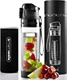 MAMI WATA Fruit Infuser Water Bottle - Create Naturally Flavoured Fruit Infused Water - Unique stylish design, Beautiful Gift Box, Insulated sleeve, Free recipes eBook - 24oz …