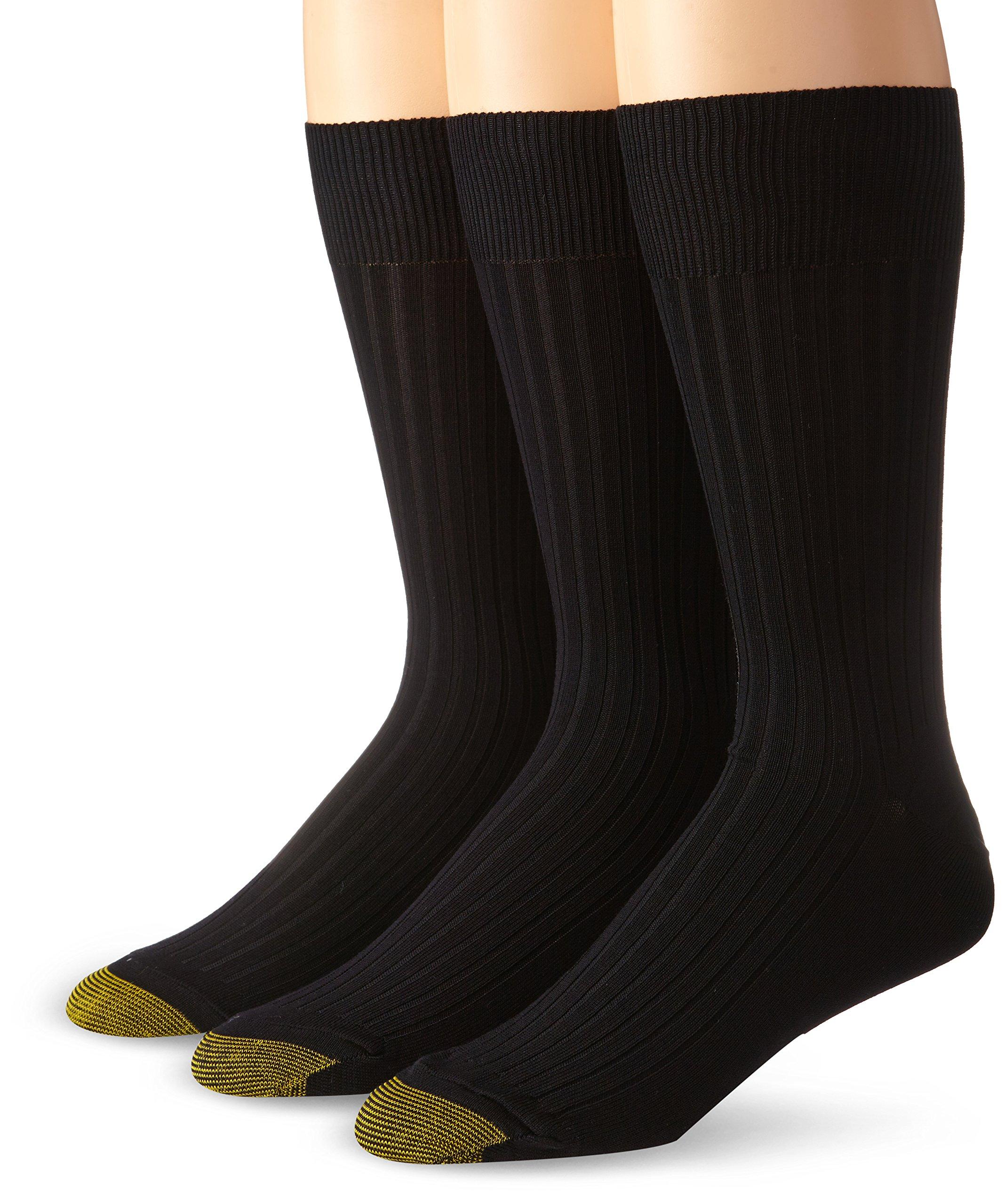 Gold Toe Men's Canterbury Dress Sock, Black, 3-Pack Sock Size 10-13(Shoe Size 6-12.5) by Gold Toe