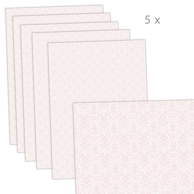 Set di 5 fogli di carta da regalo: 5 fogli per feste di compleanno per bambini battesimo battesimo con nome rosa per bambine /• formato 50 x 70 cm