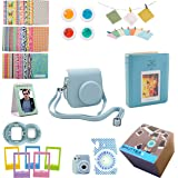 Fujifilm Instax Mini 9 or Mini 8/ 8+ Instant Camera Accessories 11 Piece Gift set Includes BLUE Case with Strap, Fujifilm Albums, Filters, Selfie lens, Hanging + Creative Frames, stickers & More.