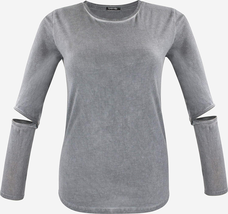 trueprodigy Casual Mujer Marca Camiseta Manga Larga Basico Ropa Retro Vintage Rock Vestir Moda Cuello Redondo Slim Fit Designer Fashion Shirt