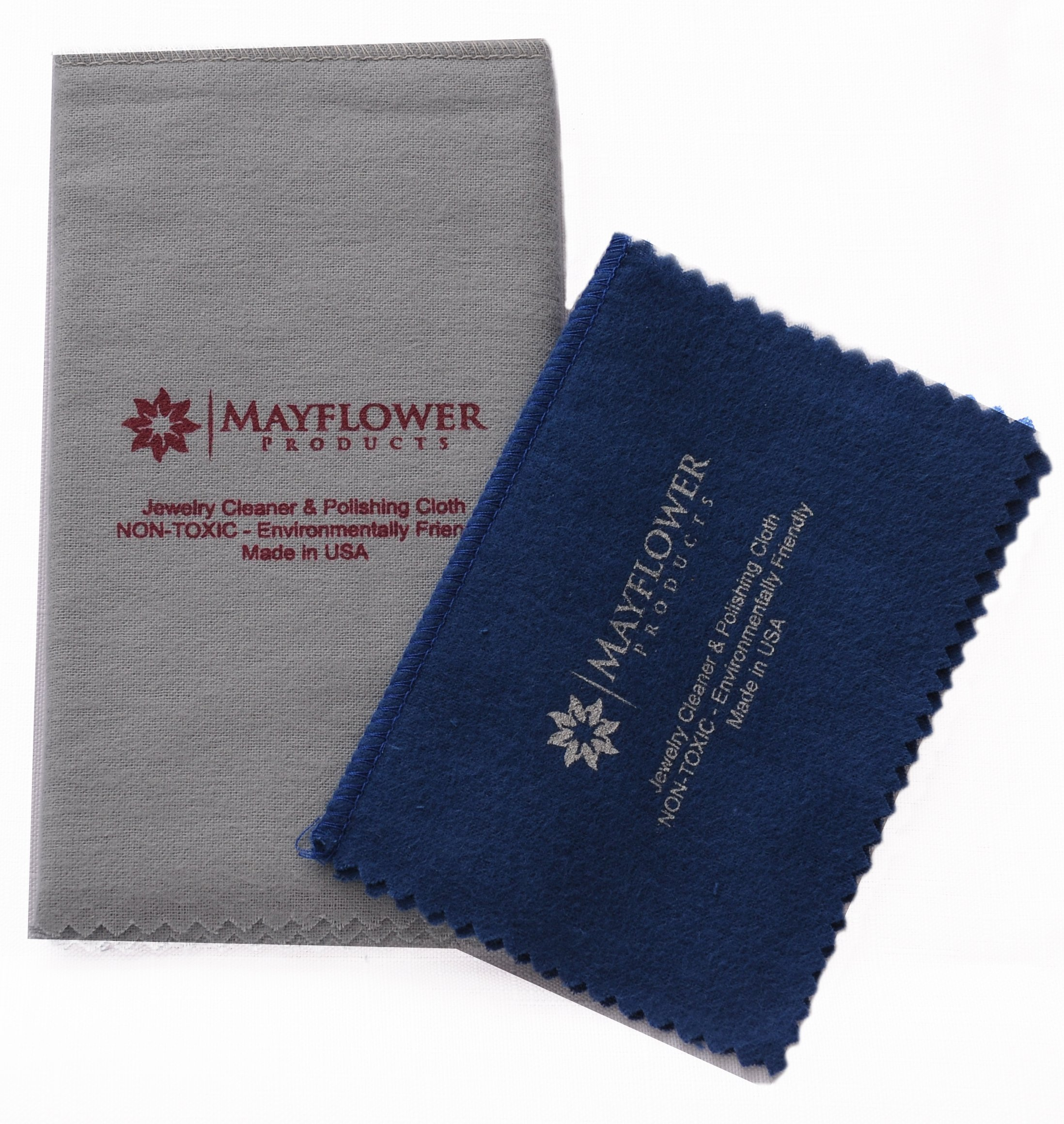 Polishing Cloth 2 Sizes Set: Large 11 x 14, Medium 8 x 6 Inch Pure Cotton Made in USA for Cleaning Silver, Gold, Platinum Jewelry, Watch, Silverware. Non Toxic Tarnish Remover Keeps Jewelry Shining by Mayflower Products