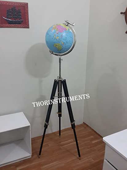Gentil Nautical Office Decor 12u0026quot; Blue Globe With Black Tripod Stand