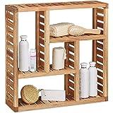 Relaxdays. Armario de pared con 5compartimentos, para el baño, pasillo y salón, tamaño: 50x 15cm, color natural, de madera