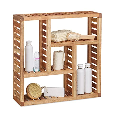 Relaxdays Wandregal Walnuss Mit 5 Fächern, Für Badezimmer, Flur Und  Wohnzimmer, Stauraum,