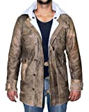 Distressed Brown Real Sheepskin Leather Coat - Biker Bomber Mens Leather Jacket