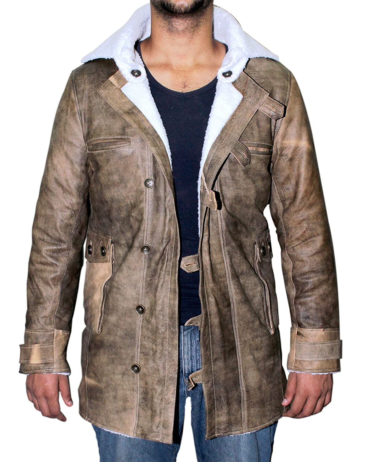 Distressed Brown Real Leather Coat Men Sheepskin Jacket ►BEST ...