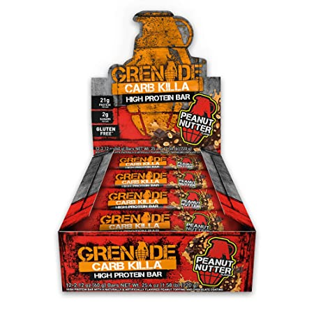 Grenade Carb Killa Protein Chocolate Bar 21g High Protein Snack Keto Friendly Low Net Carb Low Sugar Gluten Free Energy Bars Peanut Nutter, 12 Pack