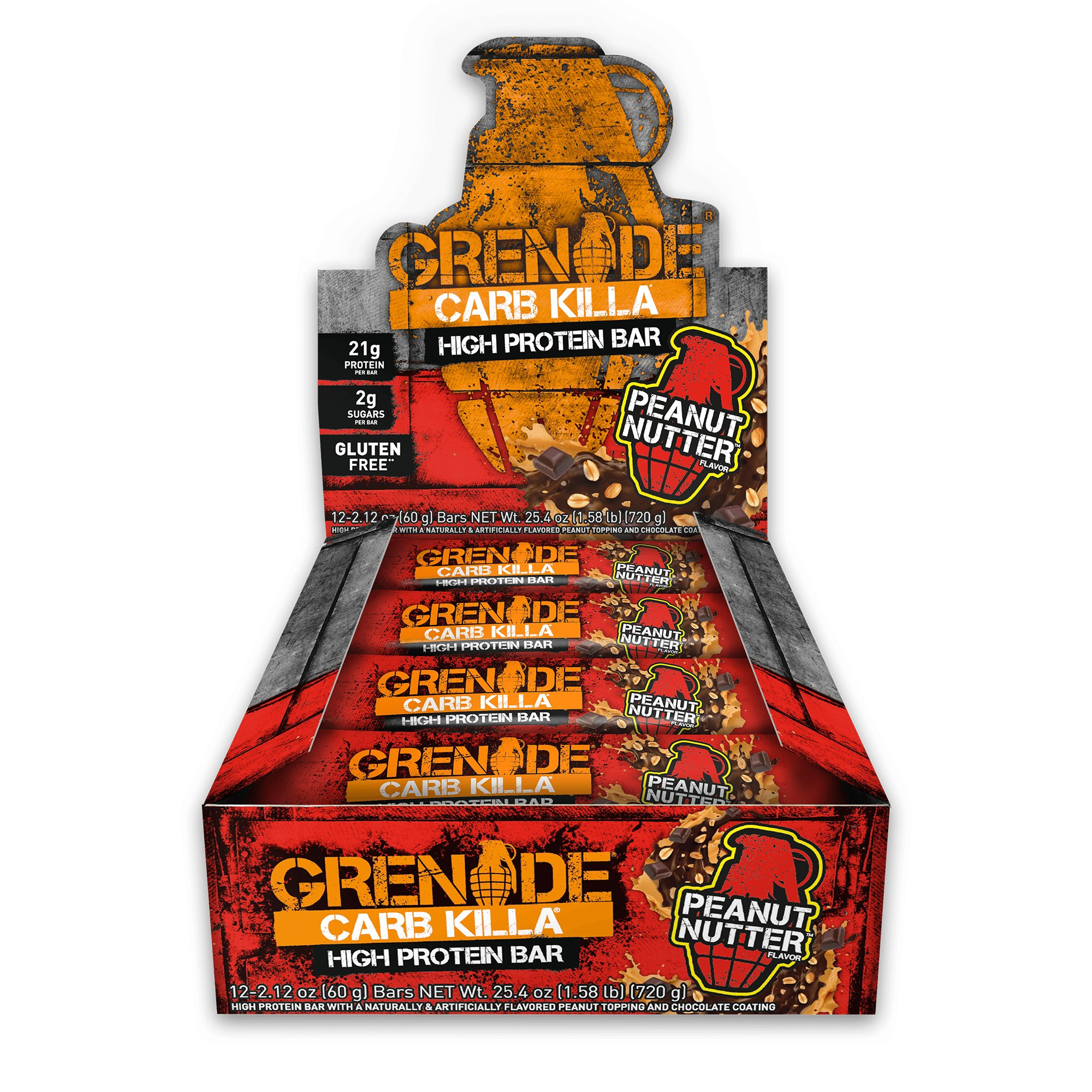 Grenade Nutrition - Grenade Carb Killa Protein Bar - High Protein, Low Carb Protein Supplement Bars (Peanut Nutter, 12 Bars)