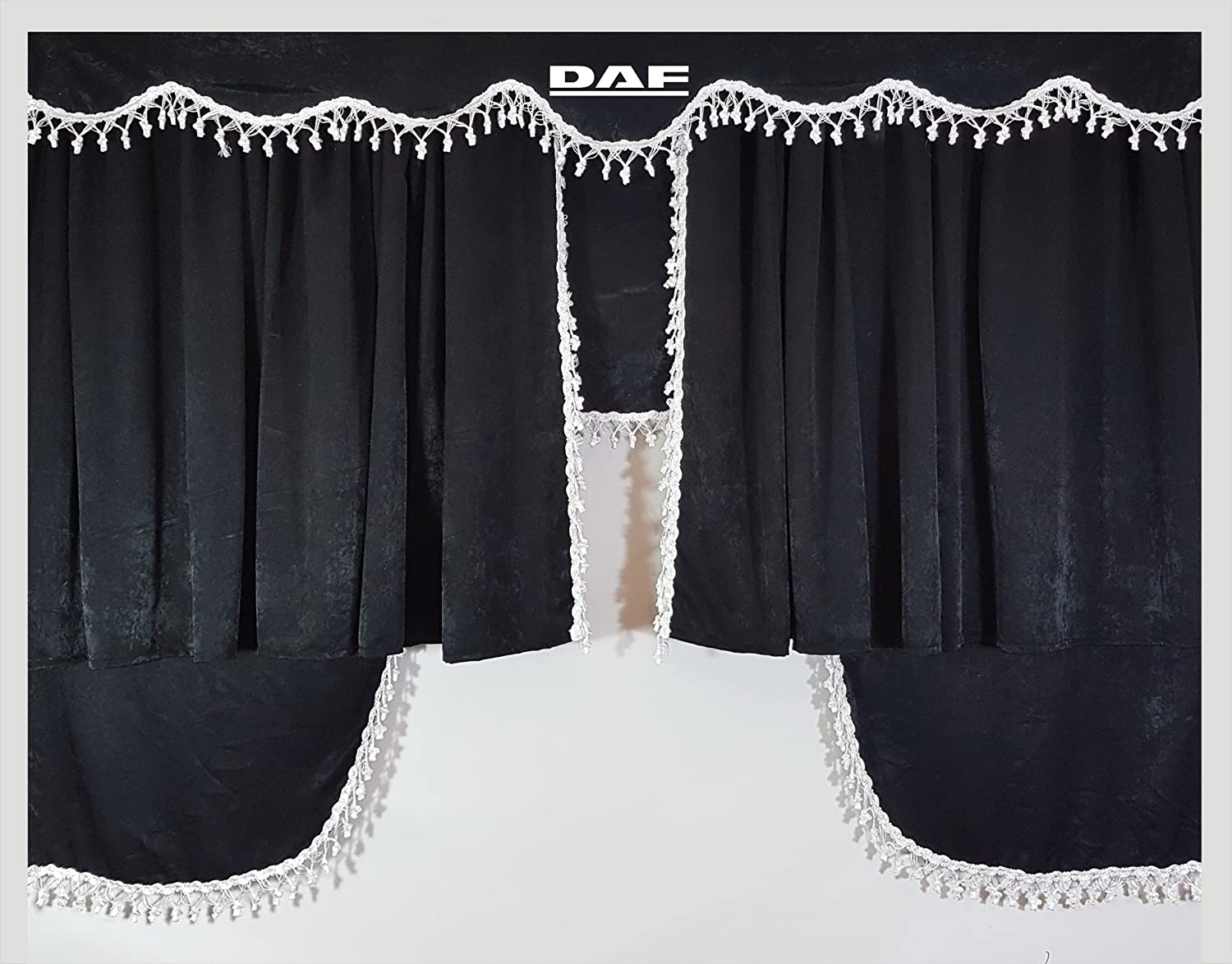 Set of 3 Grey Curtains with White Tassels UNIVERSAL SIZE Truck All Models Accessories Decoration Plush Fabric