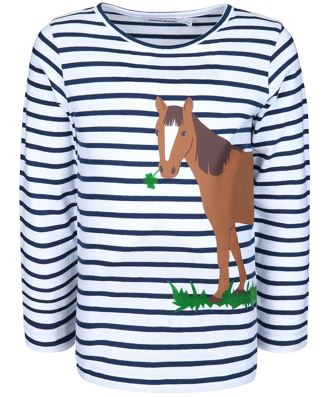 zoolaboo t-Shirt striata a Maniche Lunghe per Bambino Cavallo E Trifoglio 11-0-C-07-S55