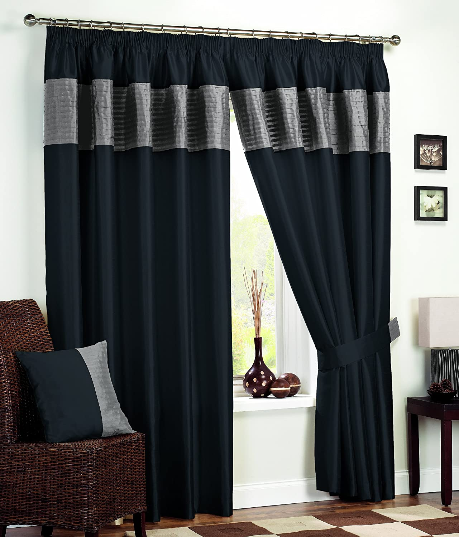 "Dreams n Drapes Tordera Black silver 3"" Lined Curtains 90x90"