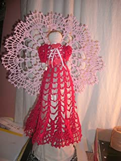 Amazoncom Hand Crocheted Angel Tree Topper Lace And Satin Angel