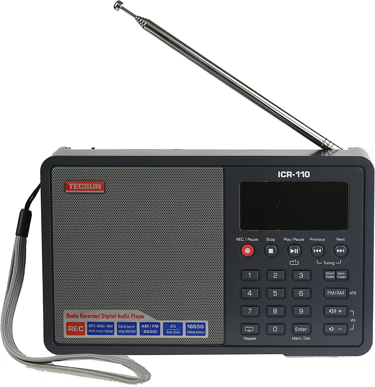 Tecsun ICR-110 4-in-1 Digital Portable AM/FM Radio + MP3 Player + Desktop/Laptop Computer USB Speaker + Digital Recorder, Color Gray (English Version)
