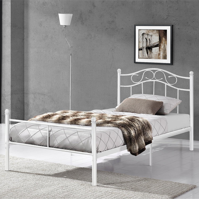Bett metall weiß 90x200  en.casa] Metallbett 90x200 weiß Bettgestell Bett Jugendbett Metall ...