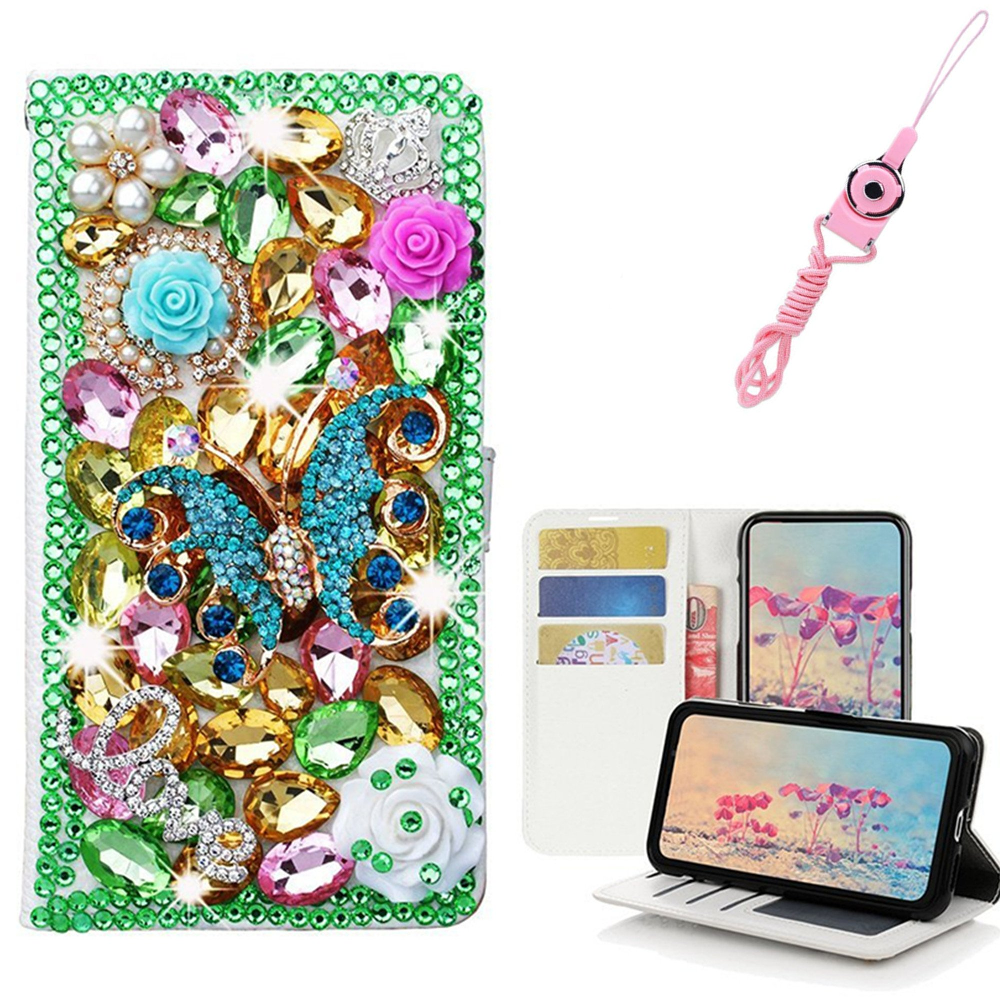 EVTECH ZTE Blade Z Max Case with Lanyard Neck Strap, [Stand Feature] Butterfly Crystal Wallet Case Premium [Bling Luxury] Leather Flip Cover [Card Slots] For ZTE Blade Z Max Z982/Sequoia