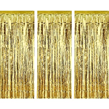 Sumind 3 Pack Metallic Tinsel Curtains, Foil Fringe Shimmer Curtain Door  Window Decoration For Birthday