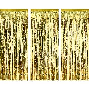 3 Piezas de Cortina de Oropel Metálica, Cortina Brillante de Borlas de Lamina Decoración de Ventana para Fiesta de Cumpleaños Boda (Oro)