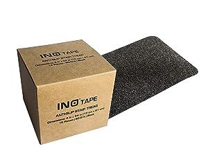 "INO Tape Non Slip Adhesive Stair Treads-Indoor, Outdoor anti slip stair treads | 80 Grit, Black, 4"" x 24"", 15 strips per pack covers all stair treads | stair tread | no slip tape | grip tape"