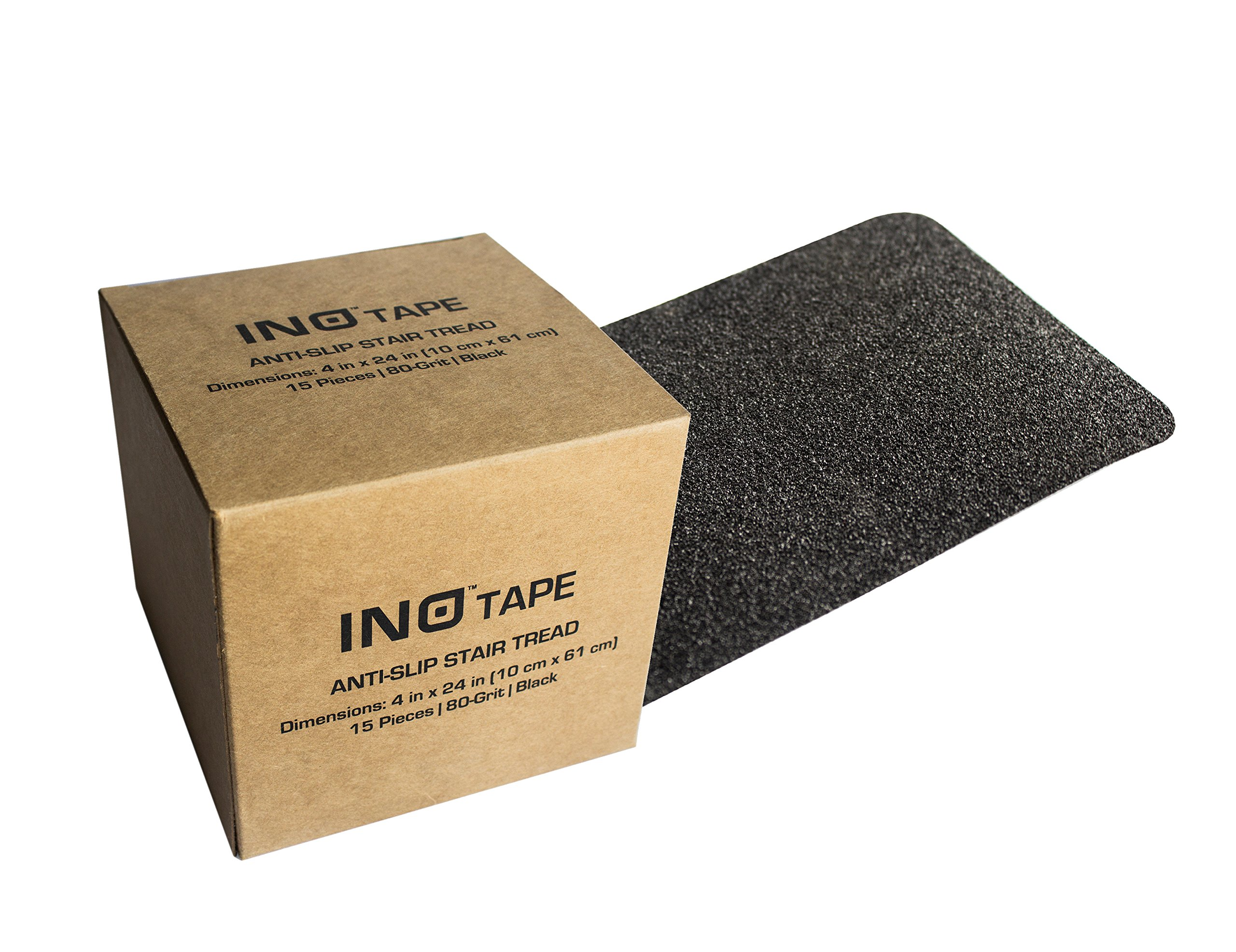 INO Tape Non Slip Adhesive Stair Treads-Indoor, Outdoor anti slip stair treads | 80 Grit, Black, 4'' x 24'', 15 strips per pack covers all stair treads | stair tread | no slip tape | grip tape