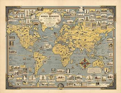 Amazon.com: World Wonders, A Pictorial Map., 1939   Historic Antique ...
