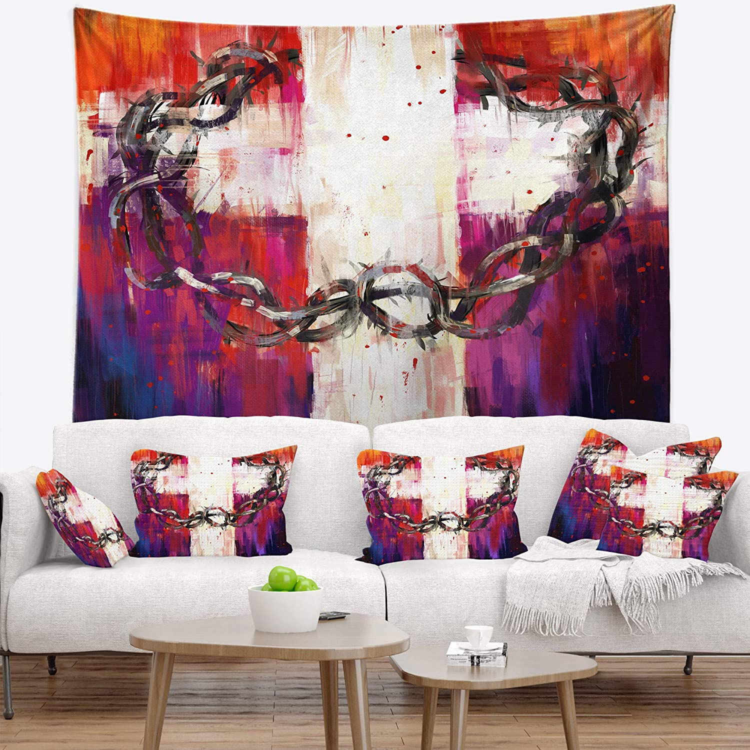 39 x 32 Created On Lightweight Polyester Fabric Designart TAP6340-39-32  Crown of Thorns Abstract Blanket D/écor Art for Home and Office Wall Tapestry Medium