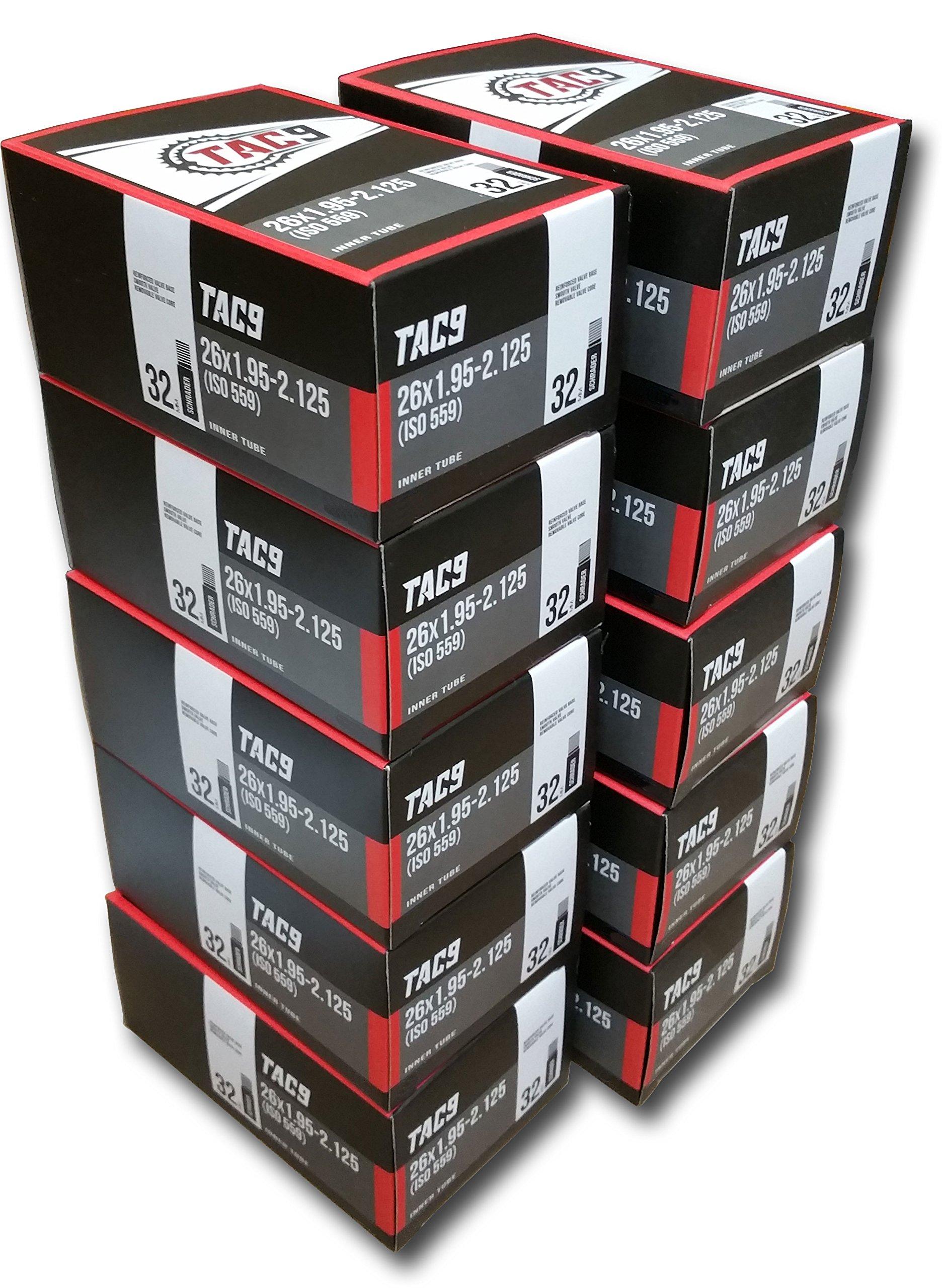 TAC 9 10 Pack Bike Tubes, 26 x 1.95-2.125'' Regular Valve 32mm - Ten Tubes ONLY Bundle