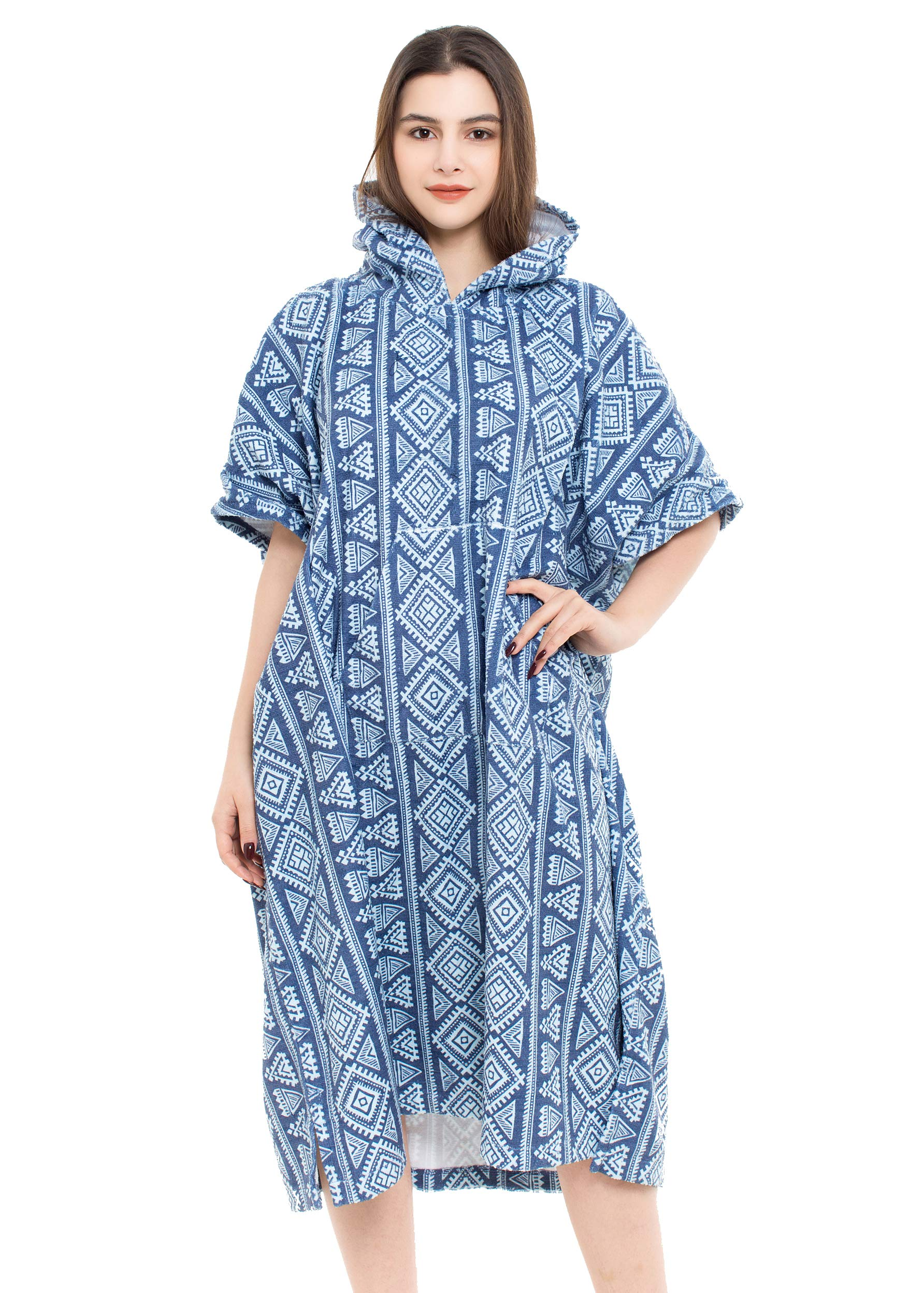 REEMONDE Changing Towel Surf Poncho Robe with Hood | One Size Fits All | Great for Changing Out of Your Wetsuit (Bohe-Blue)