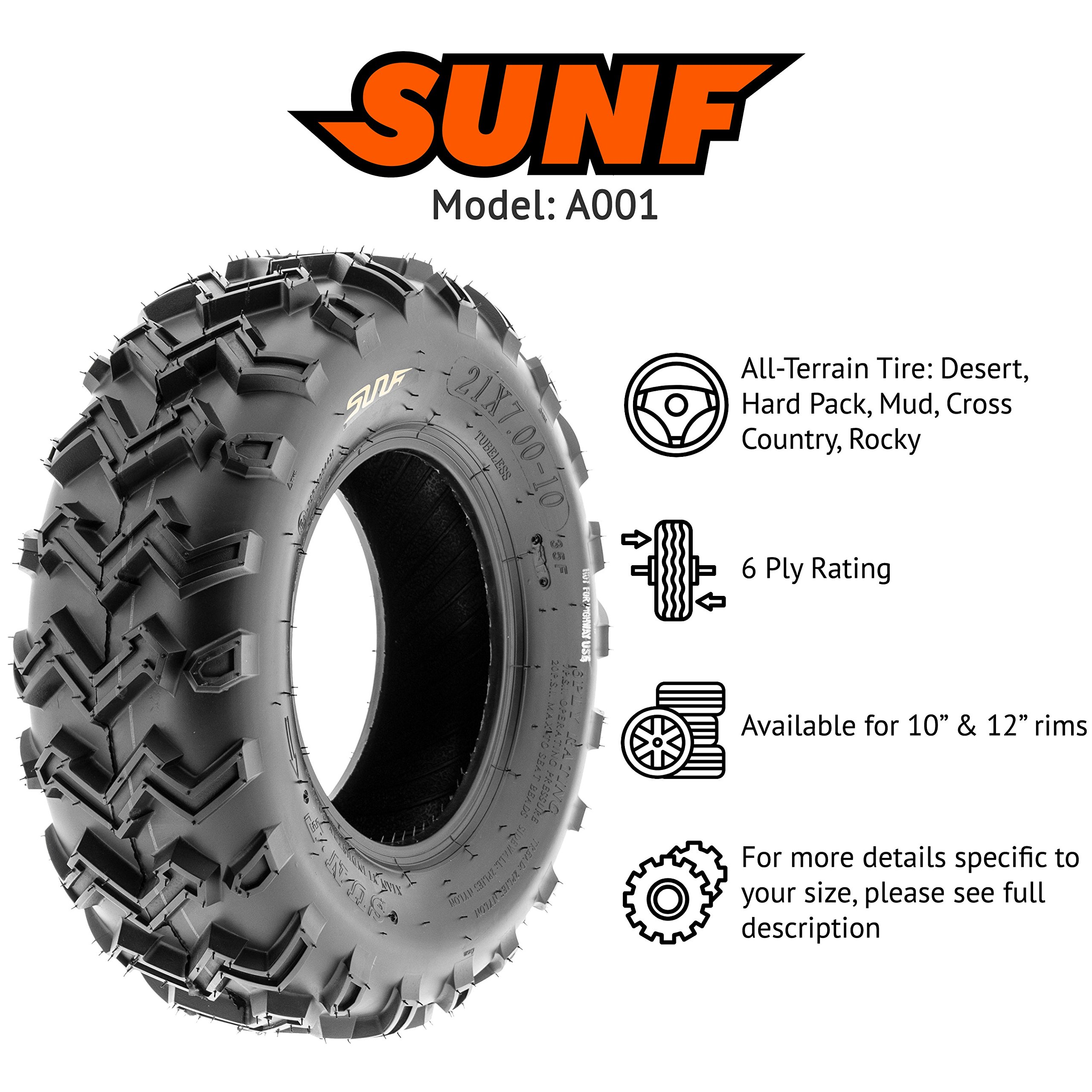 SunF 21x7-10 21x7x10 ATV UTV All Terrain Race Replacement 6 PR Tubeless Tires A001, [Set of 2] by SunF (Image #2)