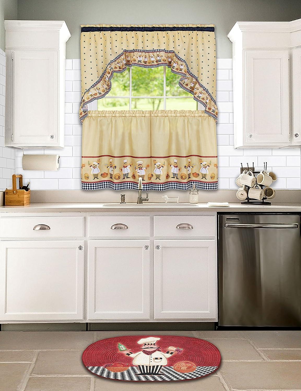 Multi 57 x 24 Achim Imports CUTS24ML12 57 x 24 Achim Home Furnishings Cucina Tier and Swag Set
