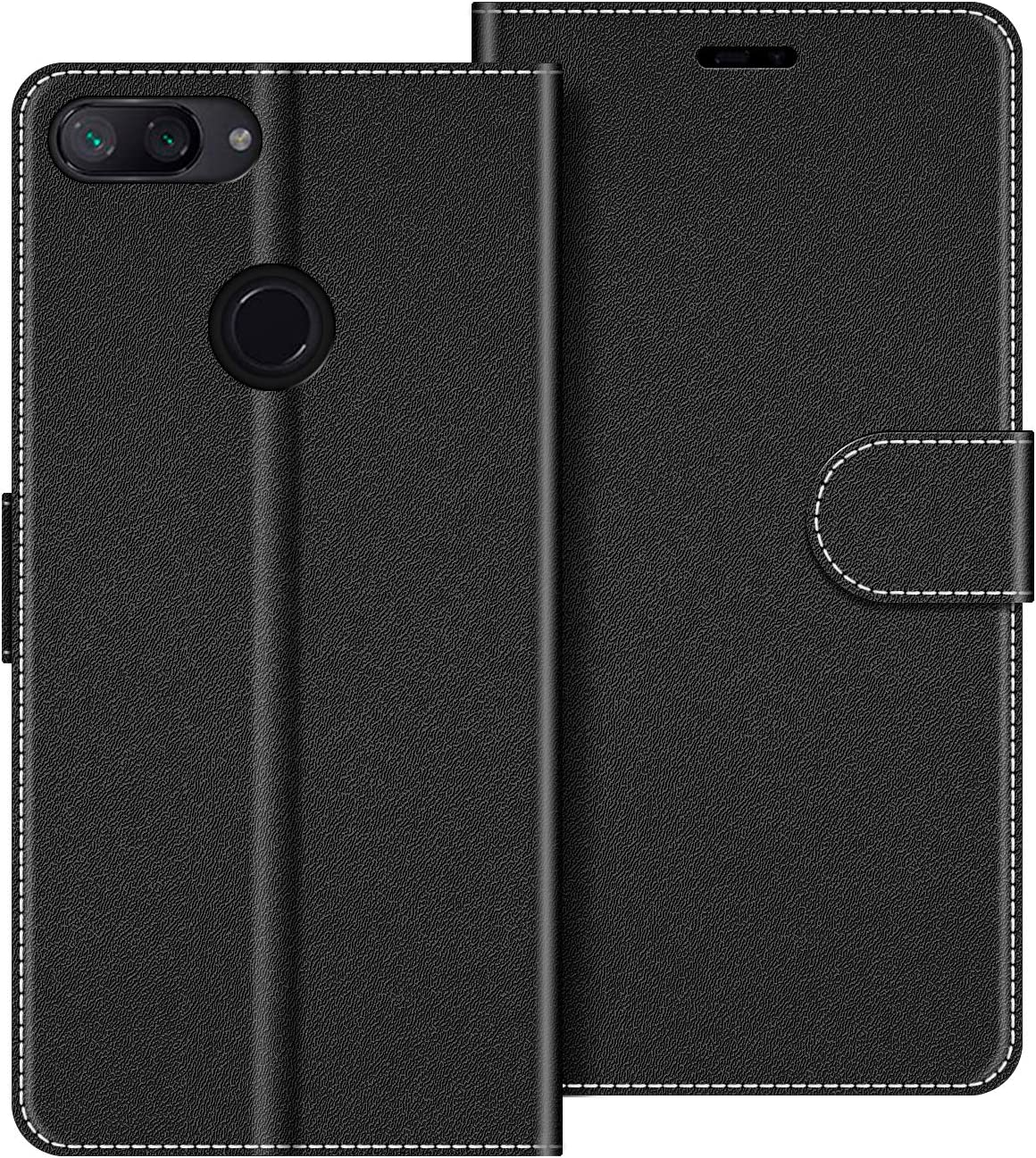 COODIO Funda Xiaomi Mi 8 Lite con Tapa, Funda Movil Xiaomi Mi 8 Lite, Funda Libro Xiaomi Mi 8 Lite Carcasa Magnético Funda para Xiaomi Mi 8 Lite, Negro