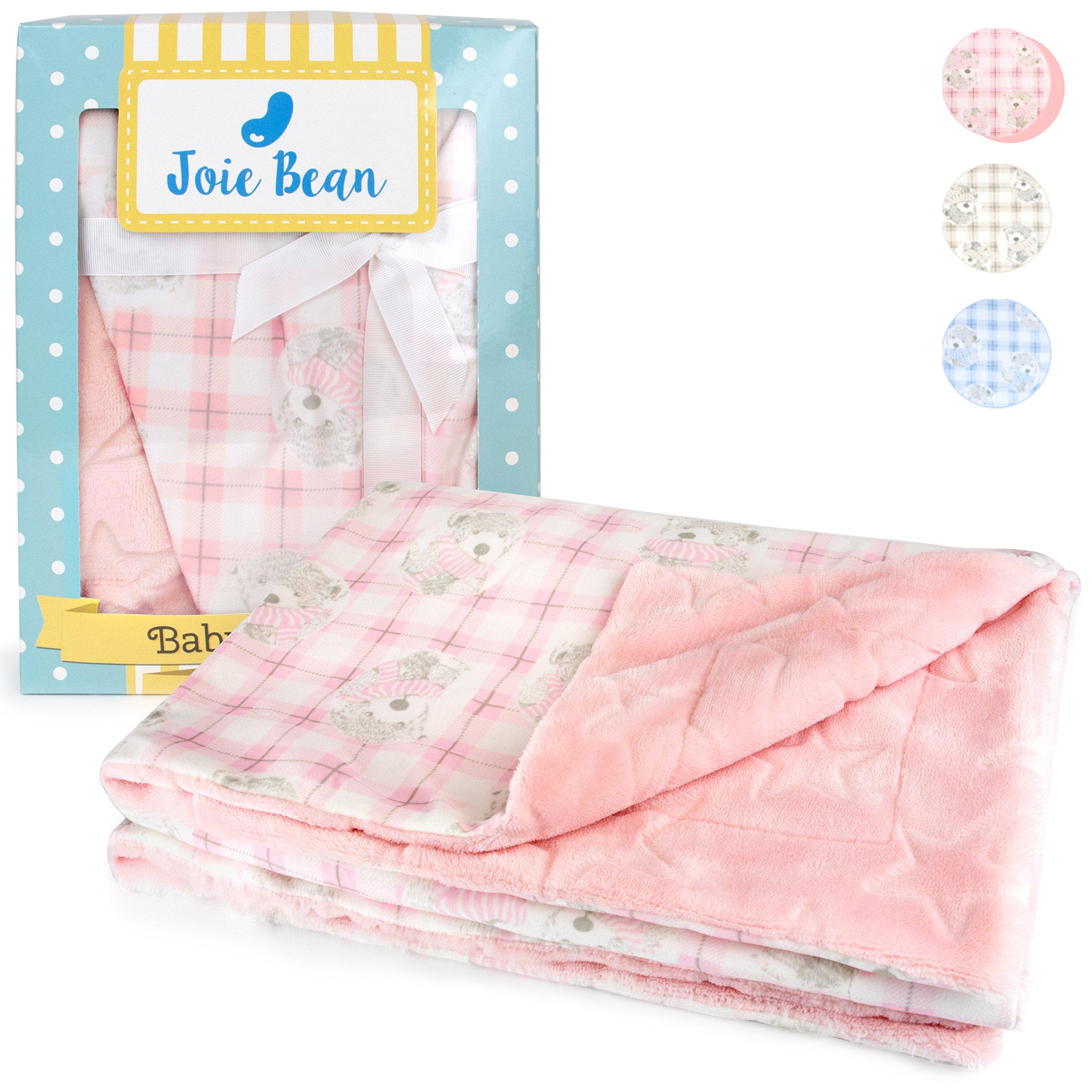 JOIE BEAN Plush Baby Blanket for Girls, Infant & Newborn | Fleece Soft Lightweight Pink Baby Blanket | Warm Reversible Toddler Blanket