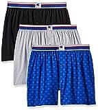 Champion Men's Everyday Comfort Cotton Stretch Knit Boxers 3-Pack, Ebony/Grey Heather/c Logo Print, Medium