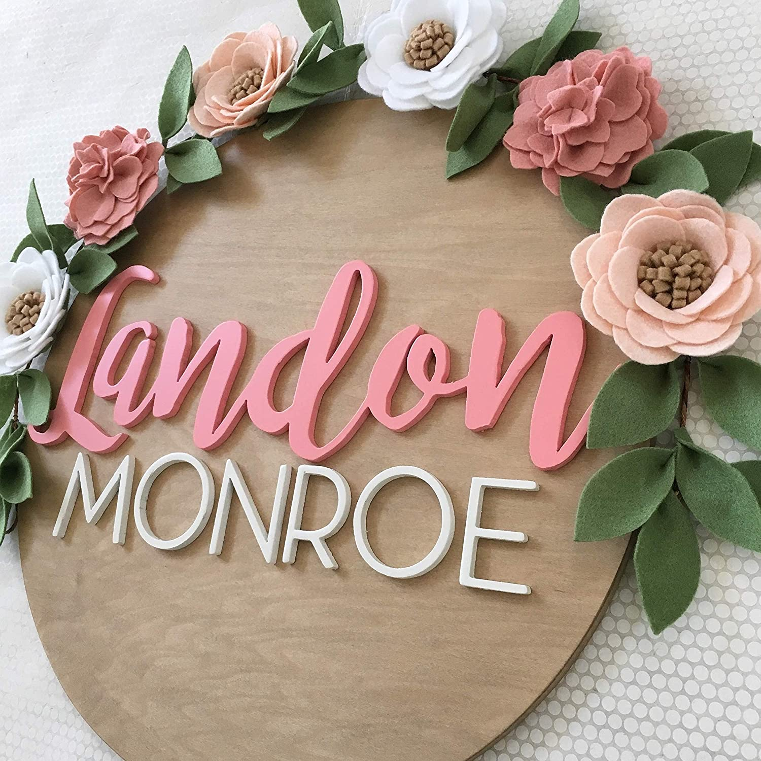 3D Name Sign Wood Personalized Baby Shower Decor Baby Shower Gift Wood Name Sign Floral Nursery Name Sign Nursery Wall Art