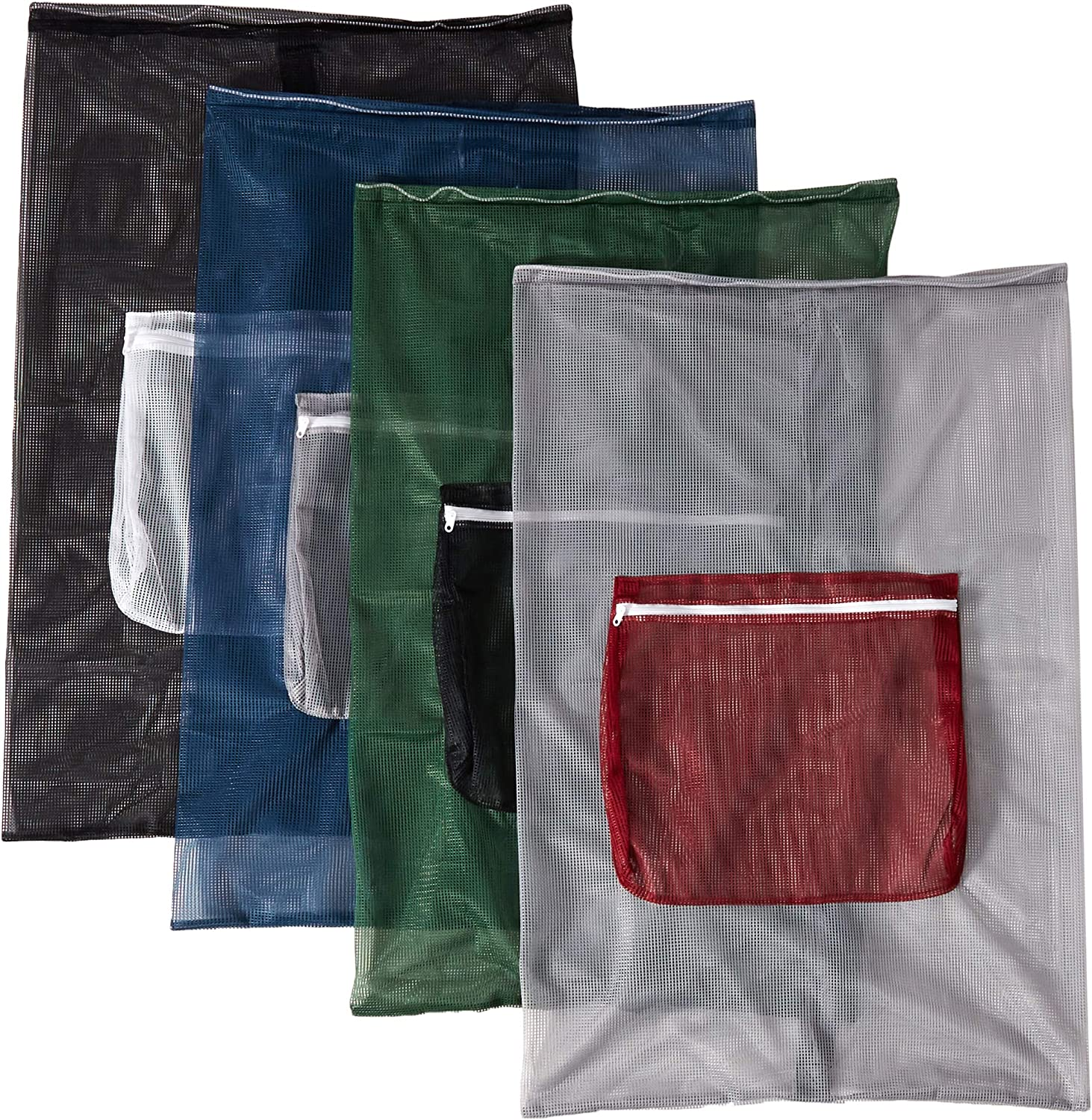 "HOMZ Mesh Carry All Laundry Bag 24"" X 36"" (Assorted Colors) 12 Pack"