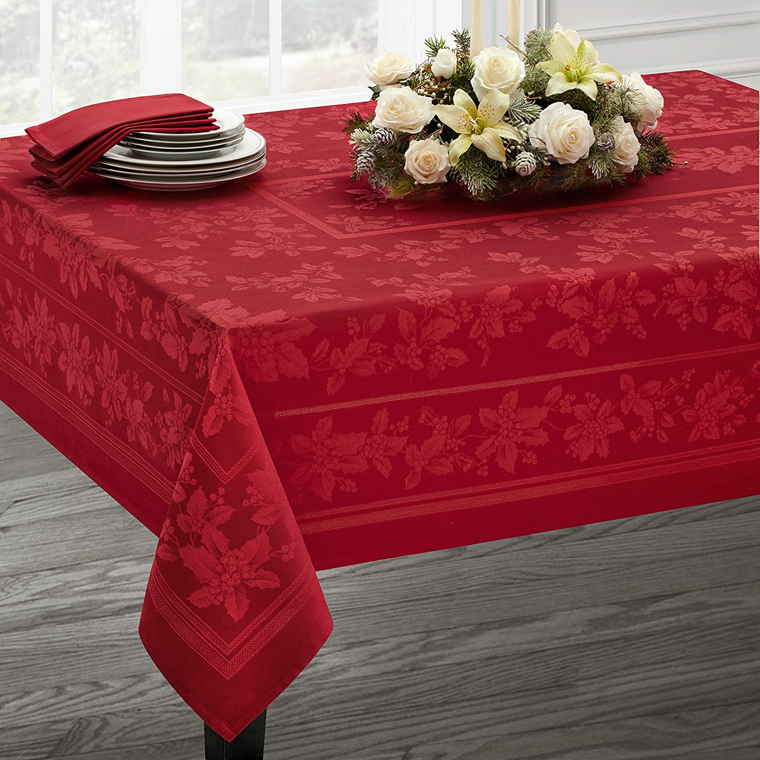 "Benson Mills Holiday Elegance Engineered Jacquard Christmas Tablecloth (RED, 60"" X 120"" Rectangular)"