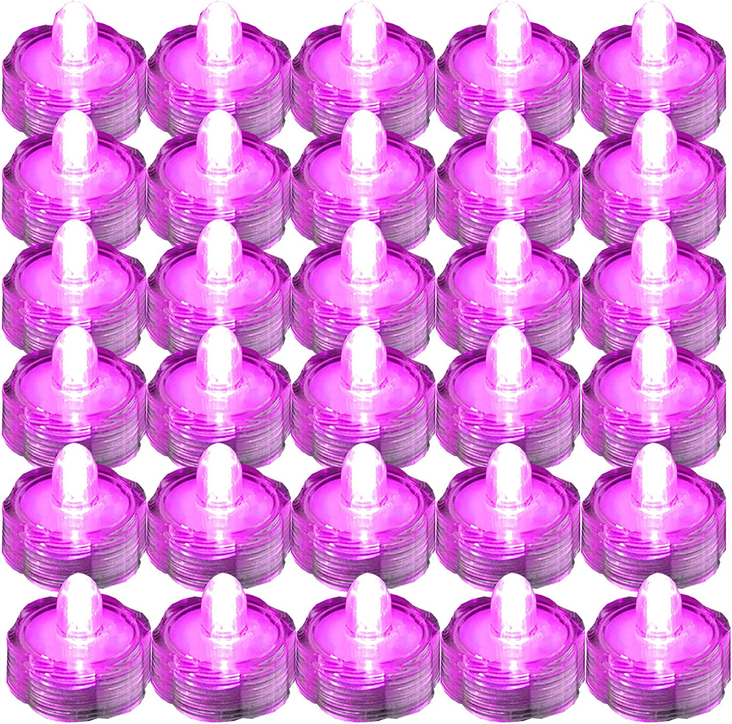 SUPER Bright LED Floral Tea Light Submersible Lights For Party Wedding (Pink, 30 Pack)
