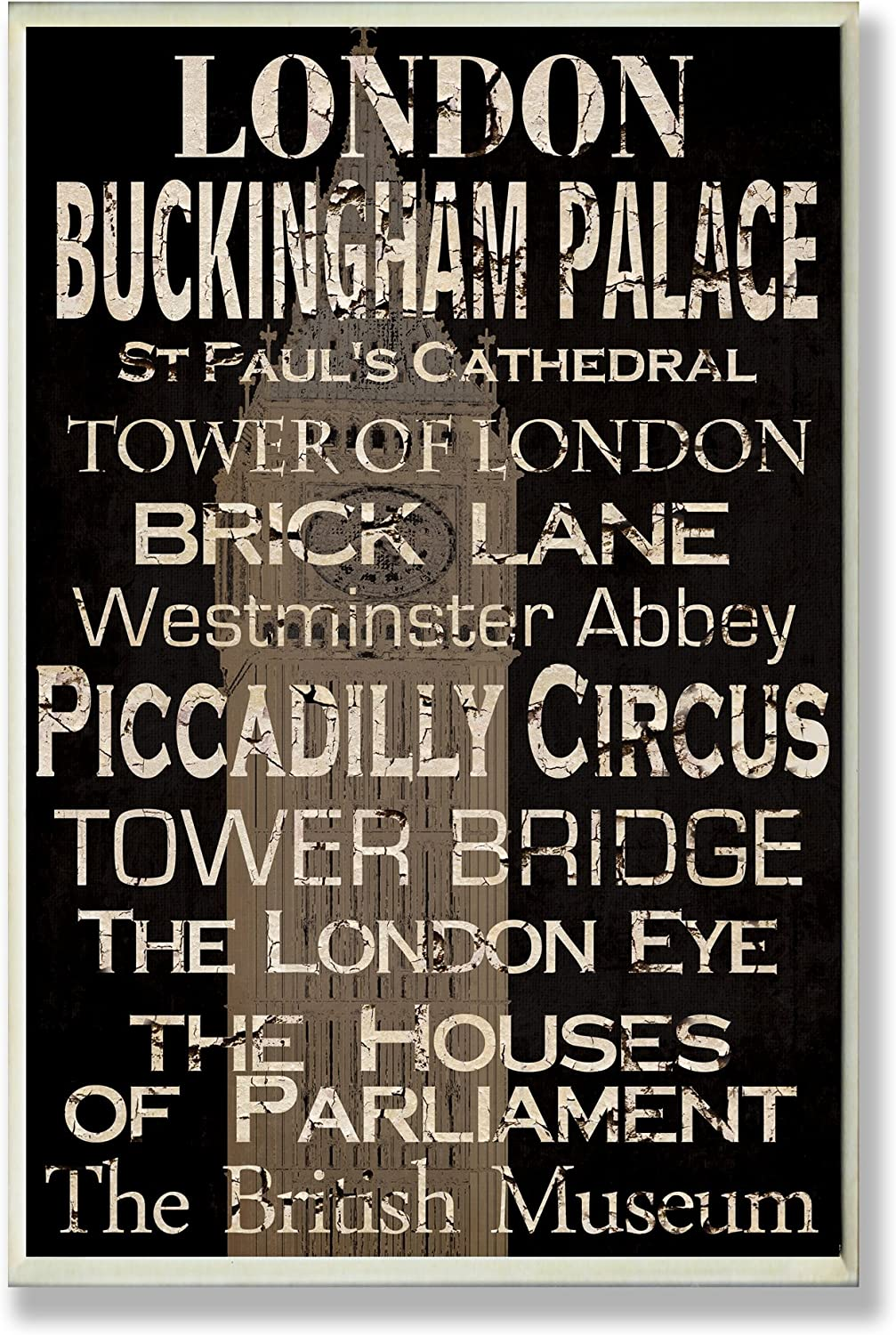 Stupell Industries London Landmark Typography Oversized Wall Plaque Art, 12.5 x 0.5 x 18.5, Multi-Color