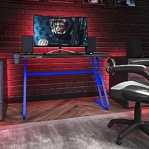 Flash Furniture Gaming Desk - Blue Ergonomic Computer Desk - 51.5