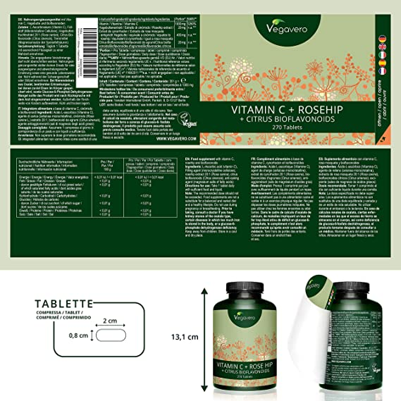 Vitamina C 1000 mg Vegana | 270 COMPRIMIDOS PARA 9 MESES | Con Bioflavonoides + Rosa de Mosqueta | Antioxidante + Resfriado + Antiedad Piel | Vegavero: ...