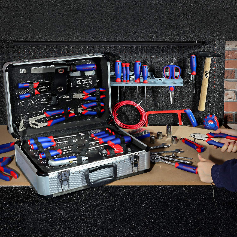 Caisse /à Outils Complete pour R/éparation Dommestique ou de Travail 119 Pi/èces WORKPRO Boite /à Outils Complete Professionnel avec Mallette en Aluminium