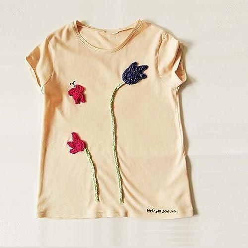 T shirt rosa cipra da bambina, con tulipani e farfalla