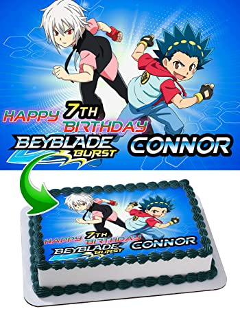 Beyblade Edible Cake Topper Personalized Birthday 1/4 Sheet Decoration Custom Sheet Party...