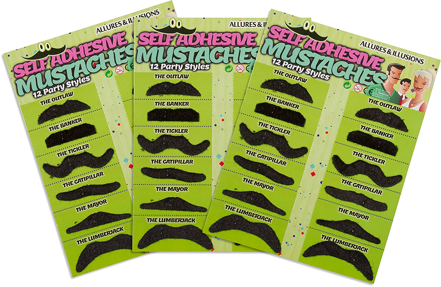 Allures & Illusions Fake Mustaches - 36 Costume & Party Moustaches Red Cup Pong - Toys MUSTACHE-36AI