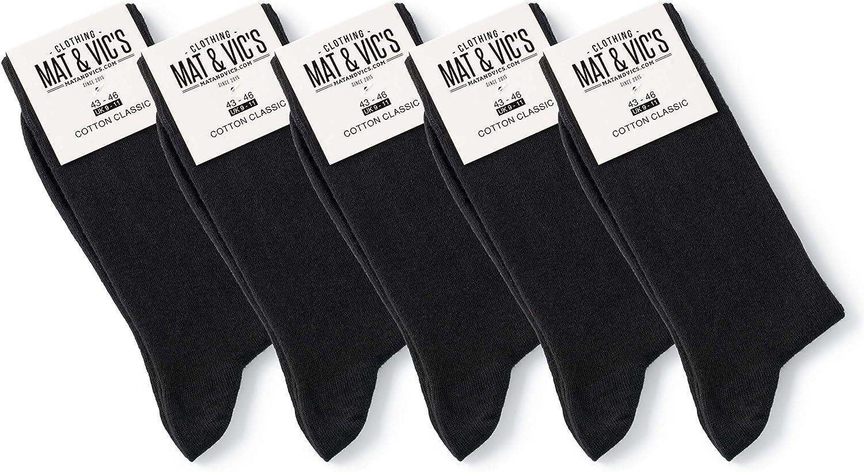 Mat & Vic's Calcetines Clásicos de Vestir para Hombre y Mujer, Algodón, Certificado Oeko-Tex 100, cómodos, negro o multicolora (5 o 10 pares)